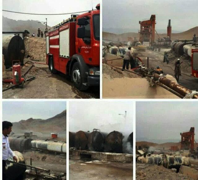 آتش سوزی مخازن قیر در یزد