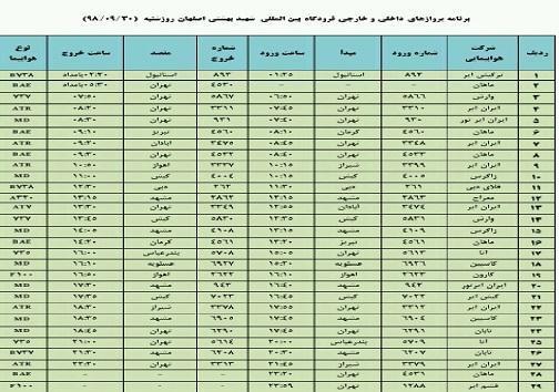 فهرست 29 پرواز داخلی وخارجی فرودگاه اصفهان