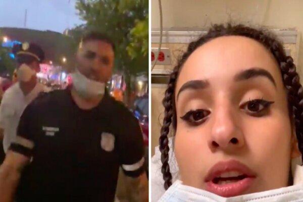 ضرب و شتم یک معترض مسلمان توسط افسر آمریکایی در نیویورک