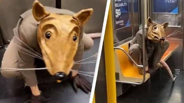 ماسک و رفتار عجیب یک مسافر در مترو